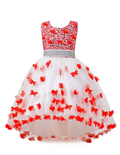 aibeiboutique Flower Girl Dress Princess Butterfly Ball Gown Dresses for Wedding Birthday Party (Red, 13-14 Years) -
