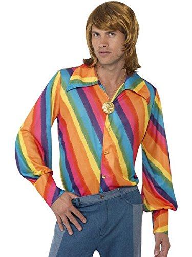 Smiffys Men's color Shirt, Rainbow color Shirt, 70 Disco, Serious Fun, Size L, -
