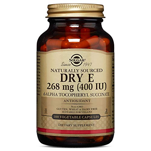 Dry Vitamin E 268 MG (400 IU) Vegetable Capsules (d-Alpha Tocopheryl Succinate) - 100 Count