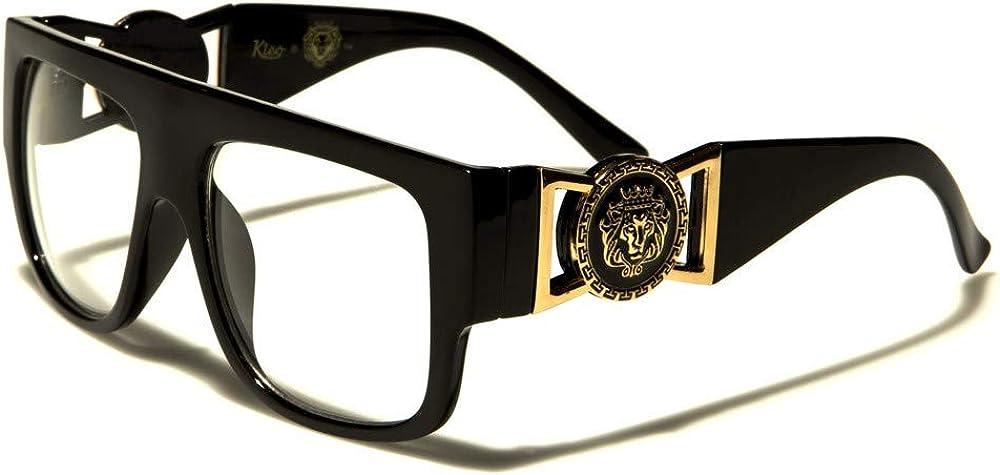 Kleo Flat Top Aviator Glasses Gold Buckle Clear Lens Sunglasses