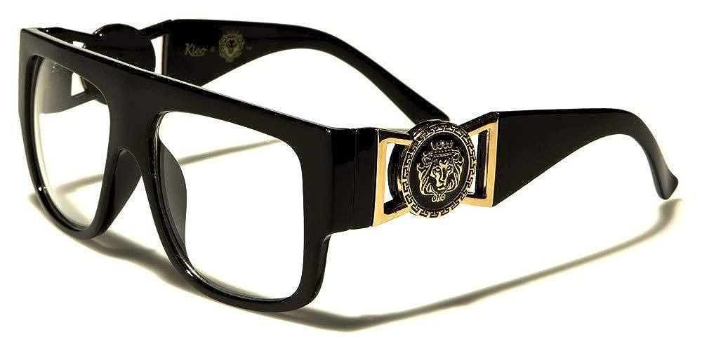 Kleo Flat Top Aviator RX Glasses Gold Buckle Clear Lens Sunglasses