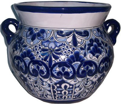 Talavera Ceramic Pot (Medium Size Traditional Blue Talavera Ceramic Pot)