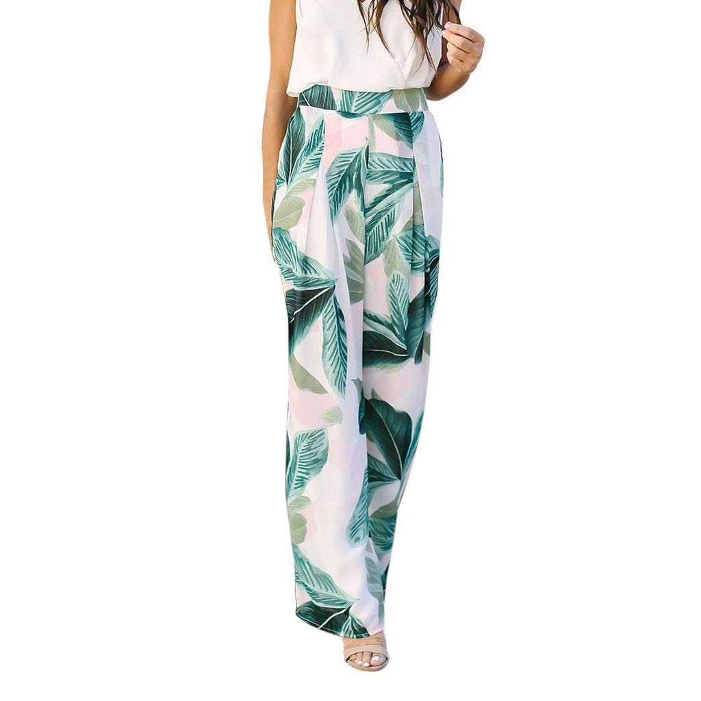 Usstore  Women Wide Leg Pants Boho Leaves Print Summer Elastic Waist Fashion Casual Beach Loose Tall Business Trousers (XL, Green)