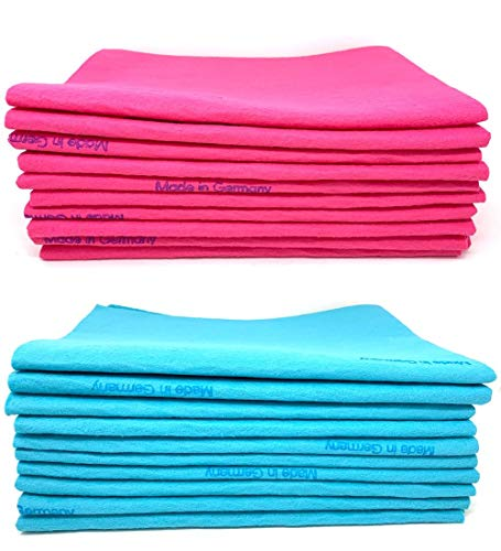 10 Pack Blue and Pink Extra Large Original German Shammy Cloths Chamois Towels Super Absorbent for Pets, Parenting Tool Cleaning for Home and Commercial Use Wholesale Bulk Lot from Chachlili