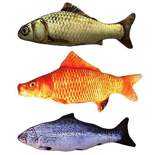 Malier 3 Pack Catnip Toys for Cats Fish Catnip Toys Cat Toys Simulation Plush Fish Shape Toy Doll Interactive Pets Pillow Chew Bite Kick Supplies for Cat Kitten Kitty