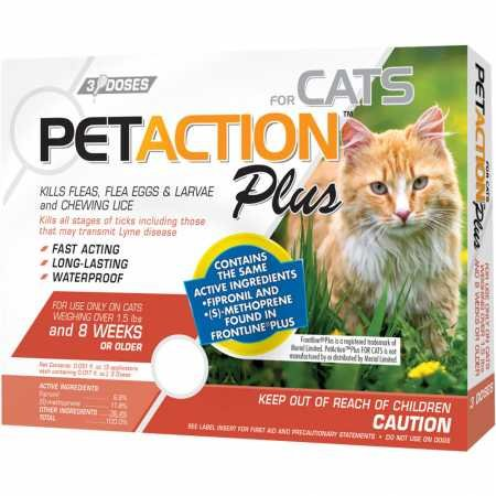Pet Action Plus Flea & Tick Treatment Cats Over 1.5 lbs, 3 Month Supply by Pet Action