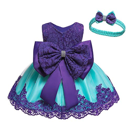 (LZH Baby Girls Formal Dress Bowknot Baptism Embroidery Tutu Dress with Headwear(Purple&Blue,18M/12-18 Months))