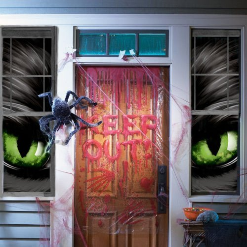Wowindow Posters Green Eyed Glowing Eyes Halloween Window Decoration Two 34.5 x60 Backlit Posters