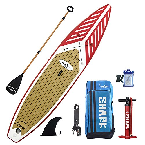 SharkSups 12'6' Touring Inflatable Stand Up Paddle Boards with Standard Accessories (Include 3 Piece Adjustable Travel Paddle)