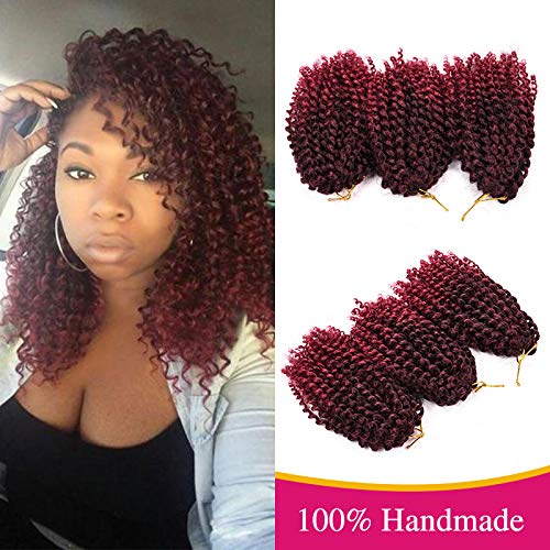Silike Silky Ombre Marlybob Kinky Curl Jerry Curl Crochet Braids (3 Bundles/pack) 8 Curly Wave Crochet Braiding Hair For Women (T1B/BUG)