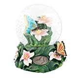 Butterflies on Lillies 100mm Resin Glitter Water Globe Plays Tune English Country Garden