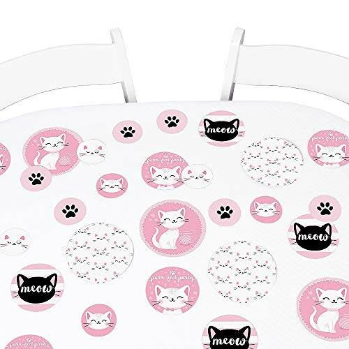 Big Dot of Happiness Purr-FECT Kitty Cat - Kitten Meow Baby Shower or Birthday Party Giant Circle Confetti - Party Decorations - Large Confetti 27 Count (Purr Kitten Fect)