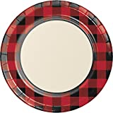 Creative Converting 321825 96 Count Sturdy Style Dinner/Large Paper Plates, Buffalo Plaid