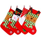 "Fuyus 4-Pack 15"" Cute Christmas Stockings for Kids,Santa Claus,Snowman,Elk and Bear"