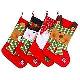 Fuyus 4-Pack 15'' Cute Christmas Stockings for Kids,Santa Claus,Snowman,Elk and Bear
