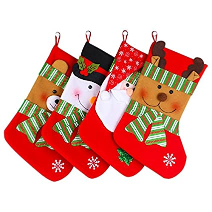 fuyus 4 pack 15 cute christmas stockings for kidssanta claussnowman - Christmas Stockings For Kids