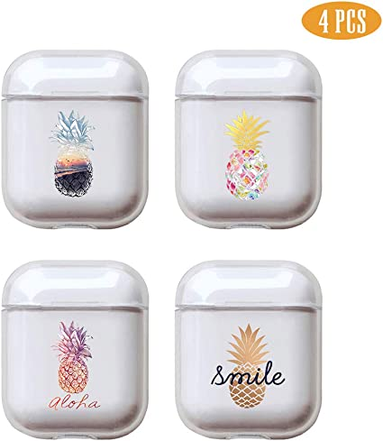 Pineapple 4 Pcs Clear Hard Plastic Case Full Protective Cover Skin Compatible with AirPods 2 /& 1