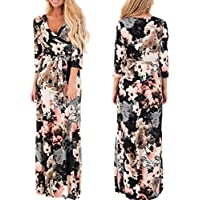 WensLTD Womens Half Sleeve Printing V Neck Wrap Long Maxi Dress with Belt (S, Black)