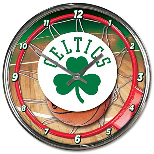 Boston Celtics 12 inch Round Wall Clock Chrome ()