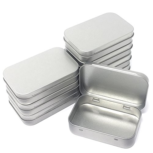 8-Pack Metal Hinged Tin Box Containers With Solid Hinged Top,Use for First Aid Kit,Survival Kits,Storage,Herbs,Pills,Crafts and More. - Silver Plated Lid