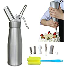 Whipped Cream Maker Dispenser Canister - Cream Whipper Aluminum Whipping Siphon with Stainless Steel Tips Silver Bonus Recipe Ebook Cleaning Kit Animato