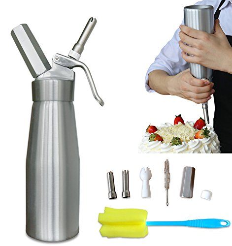 Whipped Cream Maker Dispenser Canister - Cream Whipper Aluminum Whipping Siphon with Stainless Steel Tips Silver Bonus Recipe Ebook Cleaning Kit Animato Chocolate Mousse Kit