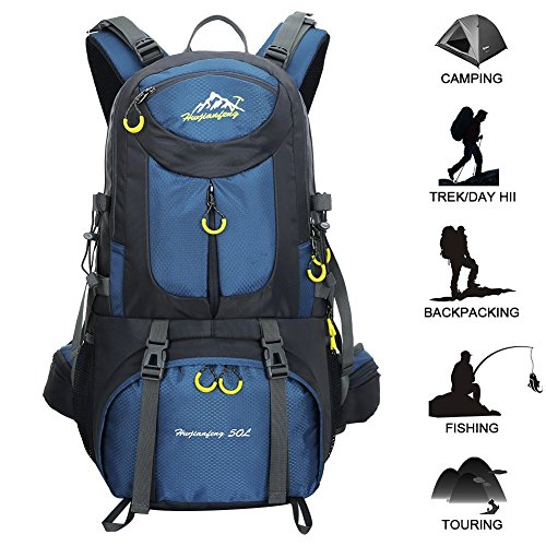 Hiking Backpack Ucharge 50L Internal Frame Backpack, Waterproof Backpacking Outdoor Sport Daypack With a Rain Cover for Climbing Mountaineering Camping Fishing Travel Cycling.(Deep Blue)