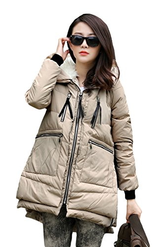 Zerlar Pregnant Women Winter Outerwear Coat Maternity Winter Coat (M, Beige)