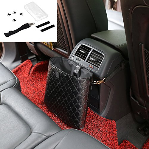 eJiasu Vehicle Trash Can, Car Trash Can Car Trash Bag Car Garbage Can Auto Trash Can Car Garbage Bags Auto Trash Bin Grid Pattern PU Leather Waterproof Car Trash Container(Black)