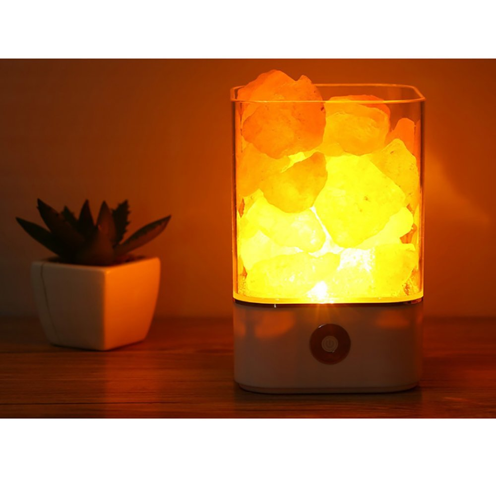 Junboys Salt Lamp Himalayan Natural Rock Large Lamp, Pink Crystal Hand Carved with White Base and USB Cord, Dimmable Touch Switch, Best Home Bedroom Decoration Light and Gift for Air Purification.