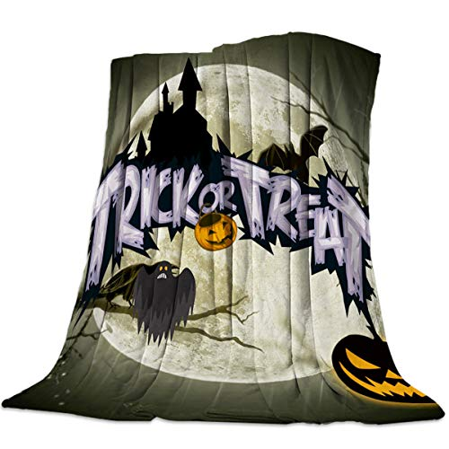 Decorative Throw Blanket for Living Roome/Office/Bedroom Luxury Warm Soft Cozy Flannel Microfiber Lightweight Blanket for All Season Trick or Treat Holiday Slogan Halloween Holiday Element 59