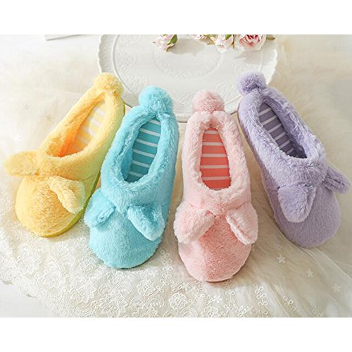 Eastlion Non-slip Bottom Cotton Slippers Winter Couple Home Cute Plush Shoes Female Purple oPChp0