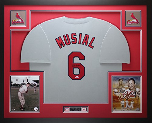 (Stan Musial Autographed Gray Cardinals Jersey - Beautifully Matted and Framed - Hand Signed By Stan Musial and Certified Authentic by PSA - Includes Certificate of)