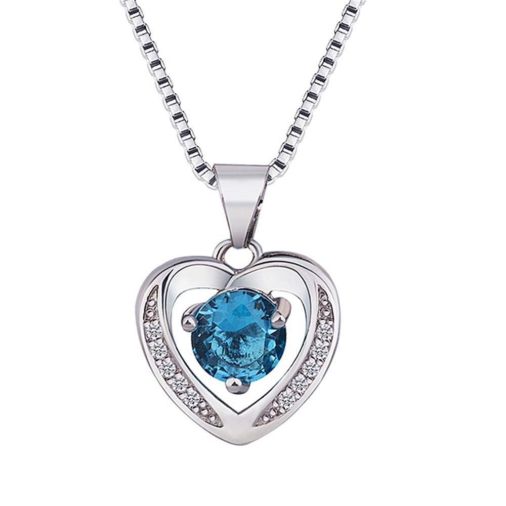 Gifts for Women,Fine Jewelry Anniversary for her,WoCoo Natural Amethyst Heart Shaped Silver Pendant Necklace(Blue)