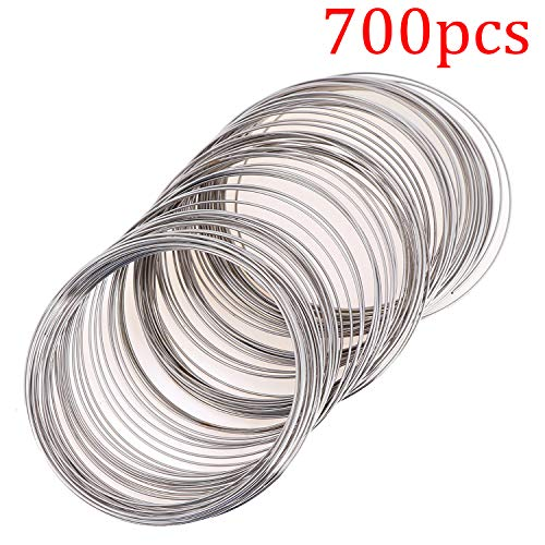700 Loop Jewelry Wire Memory Beading Wire Cuff Bangle Bracelet Jewelry Findings for Wire Wrap Jewelry DIY Making Supplies, (Dark Silver)