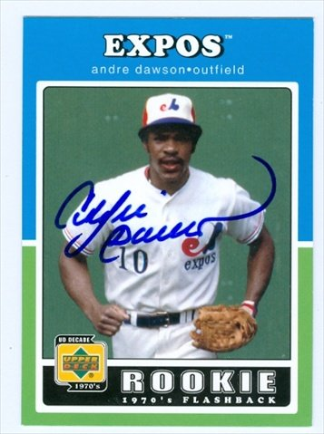 Andre Dawson Autographed Baseball (Autograph Warehouse 38354 Andre Dawson Autographed Baseball Card Montreal Expos 2001 Upper Deck Rookie Flashback No. 92)