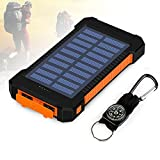 Foreverrise 10000mAh Solar Charger Dual USB Battery Pack Portable Phone Solar Power Bank Waterproof Battery Charger with LED Light and Carabiner with Compass Pack for Most USB Devices(Orange)