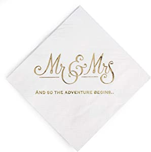 Wedding Napkins Mr and Mrs Gold Cocktail Beverage Dessert Napkins for Wedding Shower Engagement Party Decorations, Wedding Cake Table Decor Supplies. 100 Pcs, 3-Ply