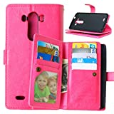 LG G3 Case,YiLin [Wallet Case] 9 Card Holder [Detachable Wallet Folio] Premium PU Leather Cover Case with [Card Slots] [Stand] for LG G3 [Pink]