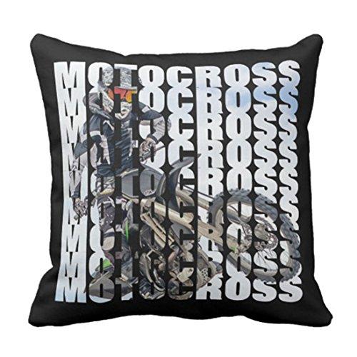 Emvency Throw Pillow Cover Supercross Motocross Sports Dirt Biker Motorcycle Decorative Pillow Case Home Decor Square 18 x 18 Inch Pillowcase (Bike Throw Pillow)