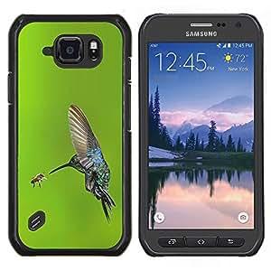 LECELL--Funda protectora / Cubierta / Piel For Samsung Galaxy S6Active Active G890A -- alas de vuelo de aves colibrí verde --