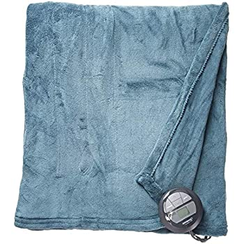 Sunbeam Heated Blanket | Microplush, 10 Heat Settings, Lagoon Blue, Twin , Heritage Blue - BSM9KTS-R531-16A00