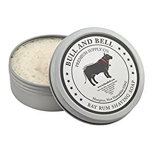Bull and Bell Bay Rum Luxury Shaving Soap - Handmade in the USA with Mango Butter and Coconut Oil - 4 Oz - Best Shave Soap for Sensitive Skin