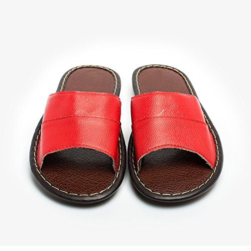 Casual Indoor Leather Red Flat Slide Shoes Slippers House Toes Open Maylian Womens Sandals 5w6AqY11