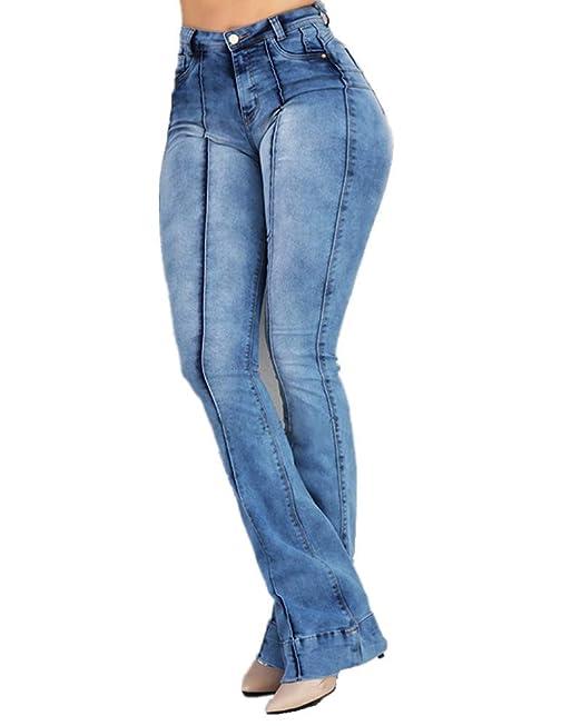 Sorrica Pantalones Vaqueros Ajustados de Cintura Alta con ...