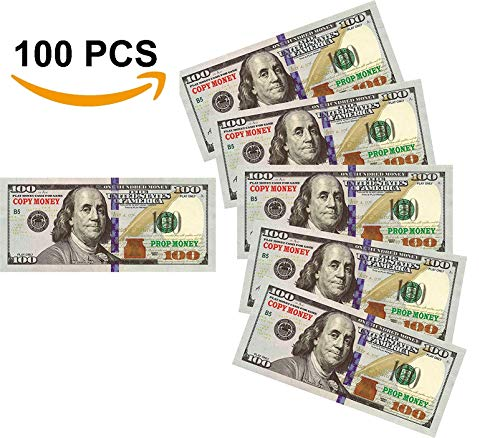Money 100 Dollar Bill (Nice Gift Movie Prop Play Money 10000 Full Print 2 Sided,100 pcs 100 Dollar Bills Stack,Copy Money for Movies,Videos,Fun,Teaching and Birthday)