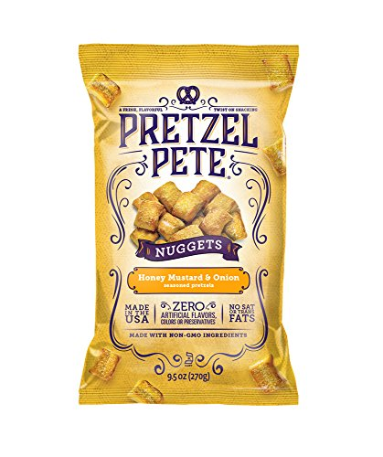 Pretzel Pete Seasoned Pretzel Nuggets, Honey Mustard & Onion, 9.5 Ounce Bag (Pack of 3)