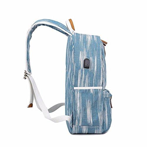 Gxinyanlong Mochila de Lona de Las Mujeres Vintage College Girls School Bag con USB Puerto de Carga,Azul: Amazon.es: Deportes y aire libre