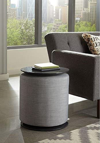 Coaster Home Furnishings Round Accent Table with Ottoman Light Grey and Grey