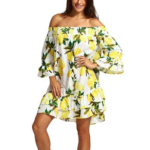 sandals Joint Women 2018 Summer Off Shoulder Chiffon Lemon Print Knee Length Mini Dress Loose Beach Party Dress (Medium, Yellow)